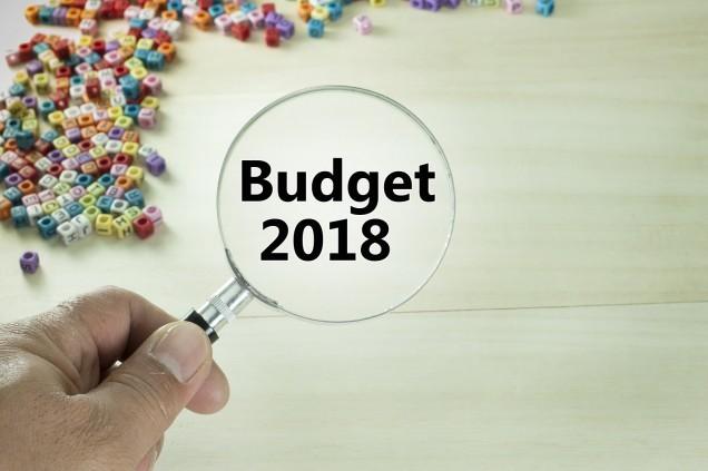 Budget 2018 text written on magnifiying glass